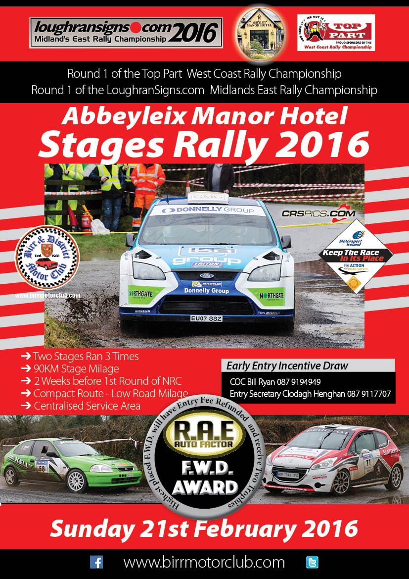 Birr Stages Rally 2016 Flyer